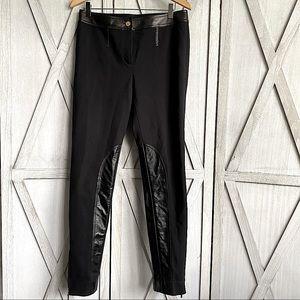 St. John Leather Panel Ponte Pants